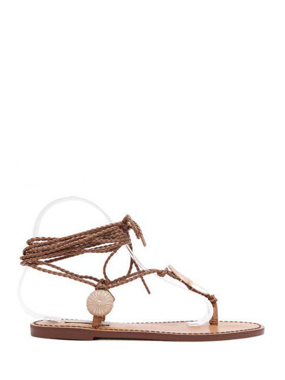 fashion Lace-Up Metal Asymmetrical Sandals - BROWN 35