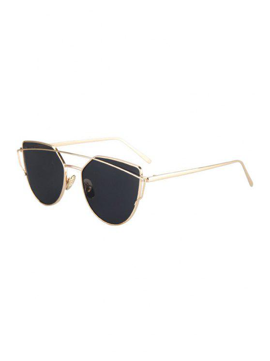 Metal Bar Golden Frame Pilot Sunglasses - Black