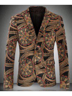 Vintage Turn-Down Collar Special Pattern Print Long Sleeve Men's Blazer - Yellow M