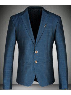 Turn-Down Collar Colorful Design Cuffs Long Sleeve Men's Blazer - Blue L