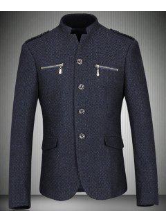Collar Del Soporte De La Cremallera Bolsillos Blazer Diseño Hombre De Manga Larga - Azul Marino  M
