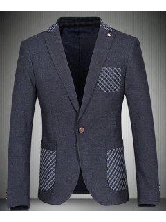 Vuelta-Abajo Tela Escocesa Del Collar Imprimir Blazer Remiendo Del Bolsillo Hombre De Manga Larga - Azul 2xl