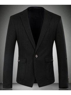 Turn-Down Collar Flap Patch Pocket Long Sleeve Men's Blazer - Black 3xl