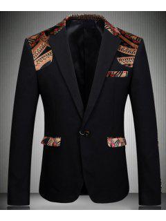 Turn-Down Collar Elbow Patch Splicing Long Sleeve Men's Blazer - Black L