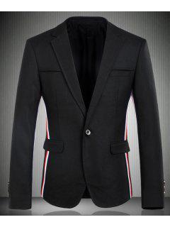 Turn-Down Collar Color Block Stripes Splicing Long Sleeve Men's Blazer - Black Xl