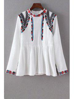 Embroidered Ethnic Style Round Neck Long Sleeve Blouse - White M