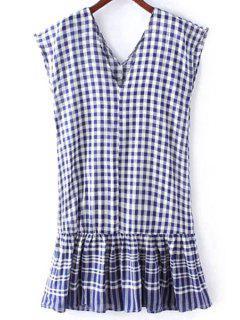 Karo Volant Rüschen V-Ausschnitt ärmelloses Kleid - Blau