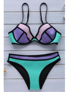 Hit Color Cami Push-Up Bikini Set - Verde S