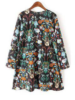 Long Sleeve Floral Print Flared Dress - Black S