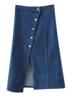 Solid Color Single-Breasted High Waist Denim Skirt - Deep Blue L