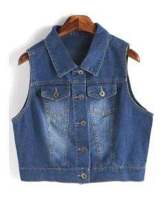 Metallic Button Denim Waistcoat - Deep Blue L