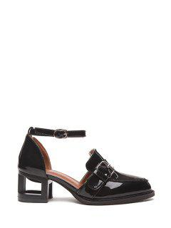Buckle Solid Color Strange Heel Pumps - Black 39