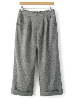 Elastic Waist Wide Leg Capri Pants - Gray L