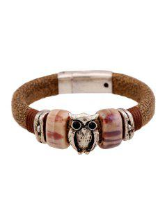 Vintage Owl Decorated Bracelet - Coffee