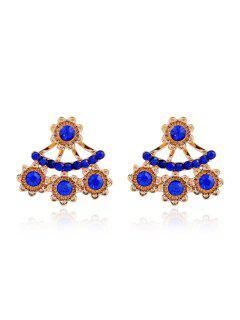 Charming Rhinestoned Floral Earrings - Blue