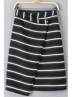 Striped Overlap Midi Skirt - White And Black L