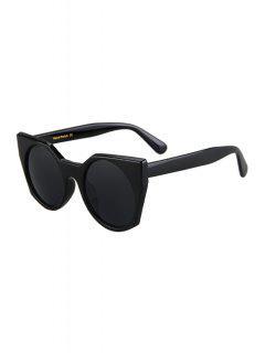 Round Lenses Black Cat Eye Sunglasses - Black