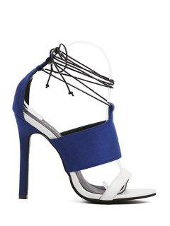 Lace-Up Flock Color Block Sandals - Blue 39