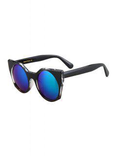 Round Lenses Color Block Cat Eye Sunglasses - Black