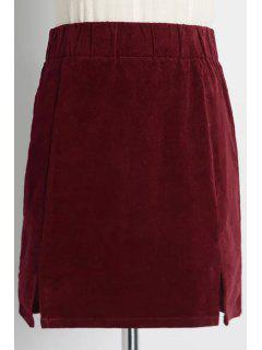 Double Split Corduroy Mini Skirt - Wine Red L