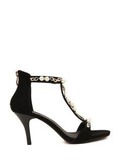 T-Strap Chains Beading Sandals - Black 39