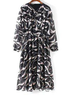 Pleated Front Bird Print Dress - Black L