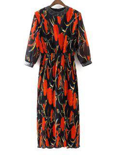 PU Detail Floral Print Crinkle Dress - Red With Black L