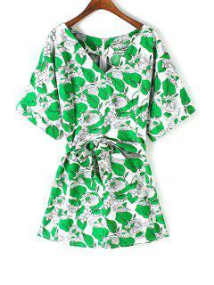 Hoja De Estampado En Forma De Vestido De La Llamarada - Verde S