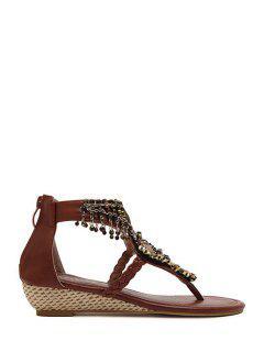 Sequins Beading Low Heel Sandals - Brown 39