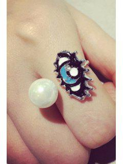 Chic Faux Pearl Glaze Eye Ring - Silver One-size