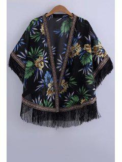Printed Batwing Sleeve Kimono Blouse - Black