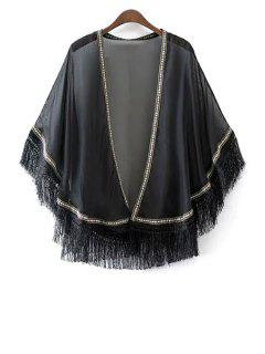 Tassels Spliced Batwing Sleeve Embroidery Blouse - Black