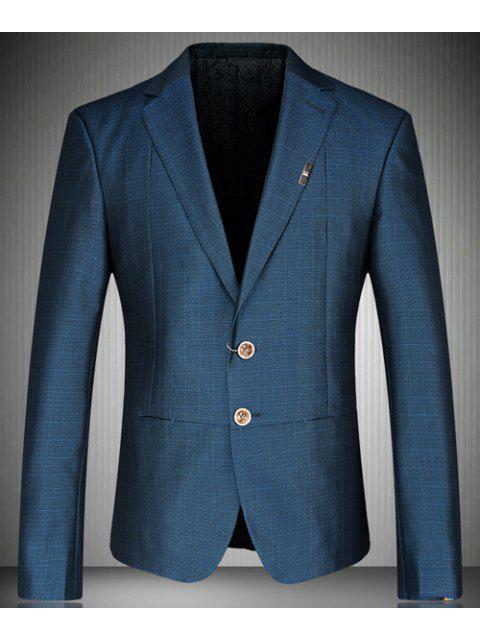 Turn-Down-Kragen Bunte Design-Cuffs Langarm-Blazer der Männer - Blau L Mobile