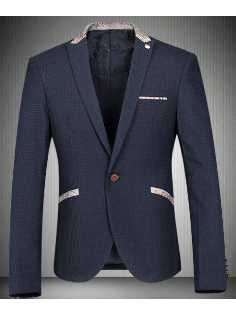 Turn-Down-Kragen-Fisch-Haut-Entwurf Splicing Langarm-Blazer der Männer - Cadetblue L Mobile