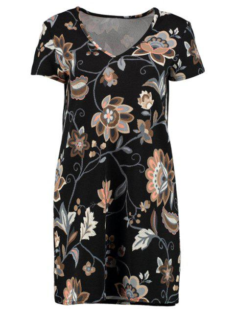 affordable Printed V-Neck Short Sleeve Dress - BLACK L Mobile