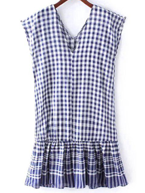 affordable Checked Flounce Ruffles V Neck Sleeveless Dress - BLUE ONE SIZE(FIT SIZE XS TO M) Mobile