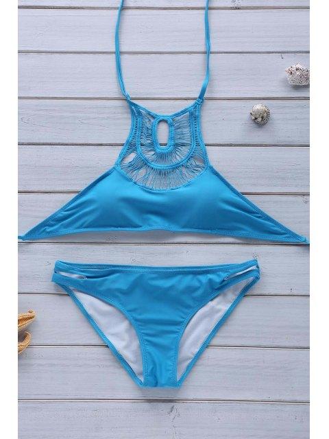 lady Hollow Out Halter Bikini Set - BLUE S Mobile