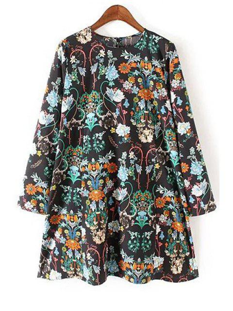 chic Long Sleeve Floral Print Flared Dress - BLACK S Mobile