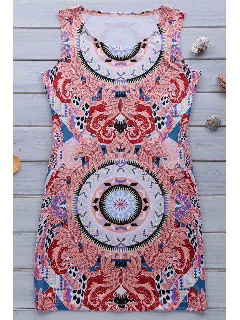 hot Retro Print Jewel Neck Sleeveless Sundress - PINK S Mobile