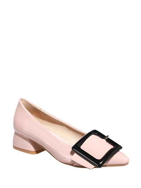 fashion Square Buckle Pointed Toe Pumps - LIGHT PINK 37 Mobile