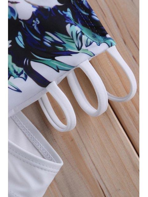 shops Printed High Waisted Vintage Underwire Bikini Set - WHITE S Mobile