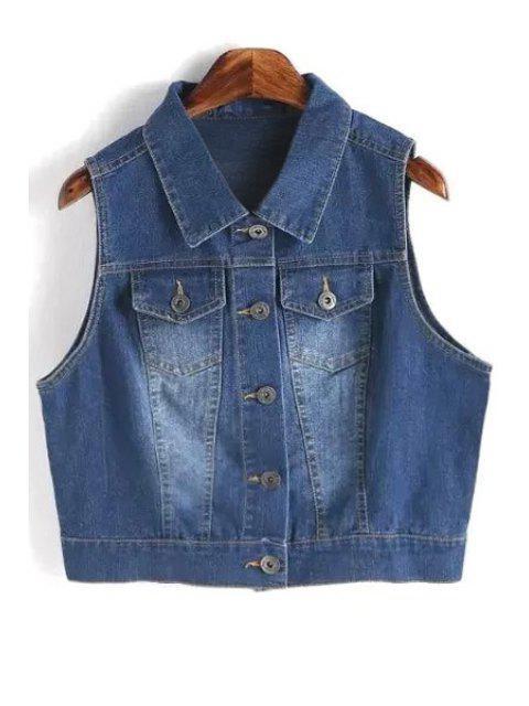 sale Metallic Button Denim Waistcoat - DEEP BLUE L Mobile