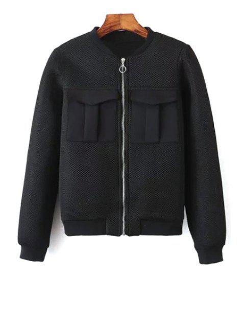 Doble color sólido del bolsillo del soporte de la chaqueta de cuello de manga larga - Negro L Mobile