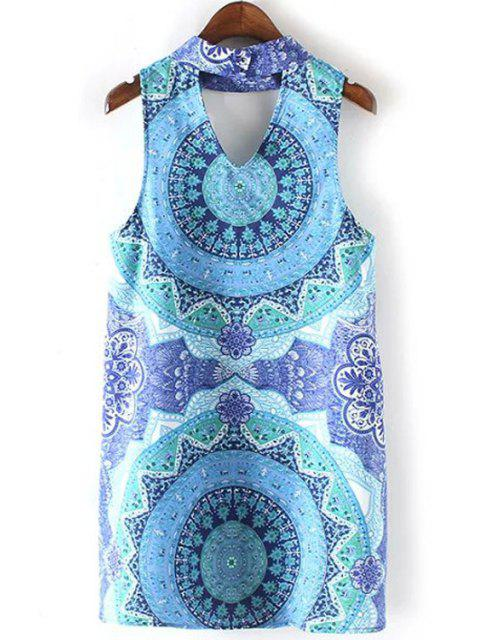 lady High Collar Cut Out Printed Dress - COLORMIX L Mobile