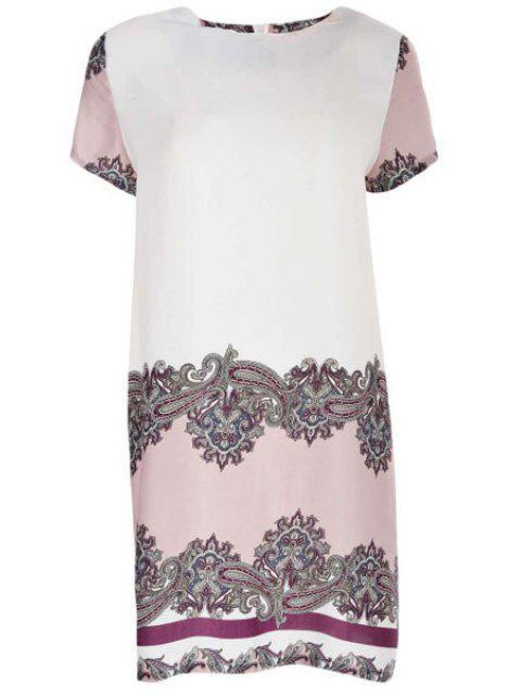 fancy Vintage Print Round Neck Short Sleeve Dress - COLORMIX L Mobile