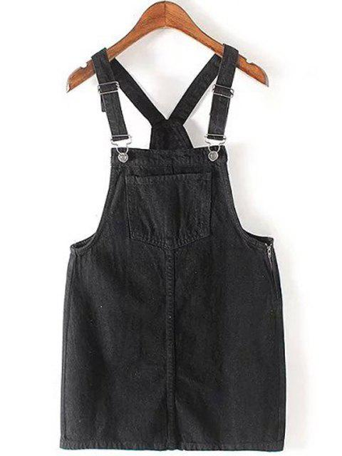 new Big Pocket Denim Apron Braces Skirt - BLACK M Mobile