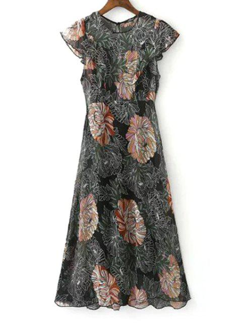 fancy Ruffle Sleeve Floral Print Dress + Black Cami Dress Twinset - COLORMIX M Mobile