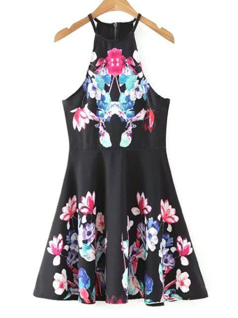women Fit and Flare Halter Dress - BLACK L Mobile