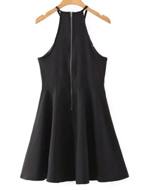 women Fit and Flare Halter Dress - BLACK L Mobile