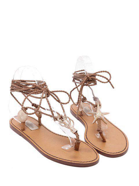fashion Lace-Up Metal Asymmetrical Sandals -   Mobile